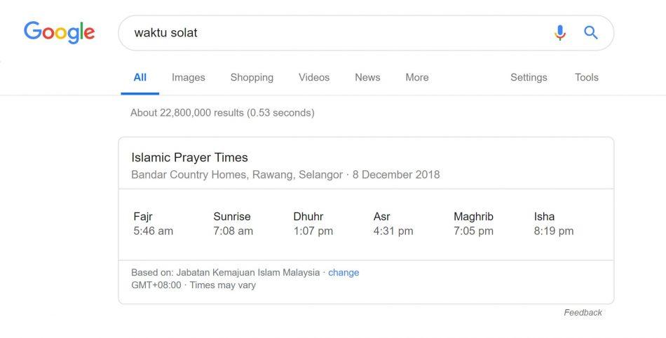 Google Kini Memaparkan Waktu Solat