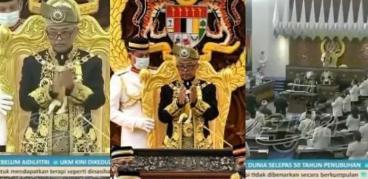 """(Video) Agong Dan Semua Ahli Parlimen Berdiri Beri Tepukan Gemuruh Buat """"Frontliners"""" Perangi Covid-19"""